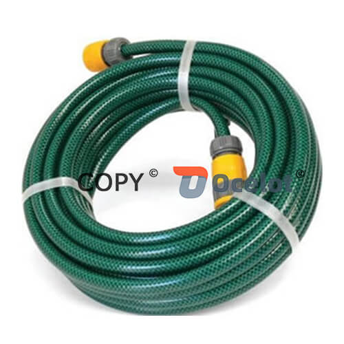 PVC high pressure garden hose packed in a coil